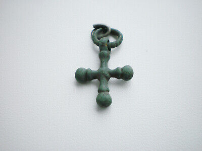 Ancient Authentic Viking Bronze Cross Pendant  9 - 10 AD Wearable Artifact