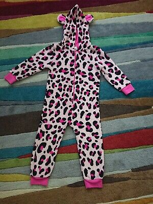 Girls Animal Print Pink all in one Age 2-3yrs Good Clean Used Condition
