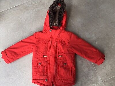 M&S Kids Orange Fur-trimmed Parka Age 2-3years Unisex