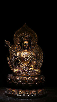 """11.7"""" Rare chinese antique Bronze lacquered gold Statue of King Jizo"""