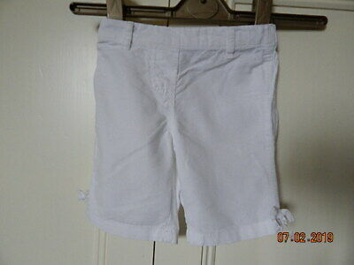 Next Baby Girls White Cotton Linen 3/4 Length Trousers 3-6 M