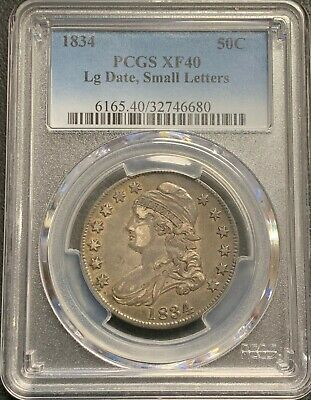 1834 U.s. Capped Bust Half Dollar! Pcgs Graded Xf40! $2.95 Max Shipping!