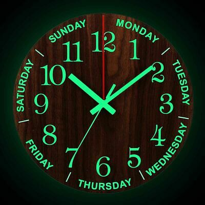 Luminous Wall Clock 12 Inch Wooden Silent Non Ticking Clocks With Night Light