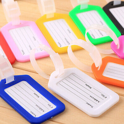 5pc Travel Luggage Bag Tag Name Address ID Label Plastic Suitcase Baggage Tag