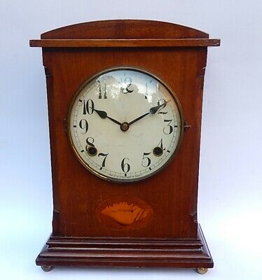 Superb Gilbert Mahogany Case 8 day Striking Mantel Clock  Working   3206