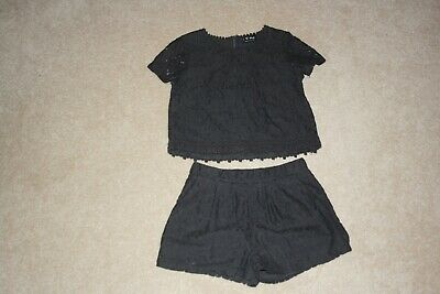 Girls charcoal grey top/shorts set from Next - 7 years
