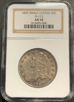 1832 U.s. Capped Bust Half Dollar! Ngc Graded Au58 O-113! $2.95 Max Shipping!