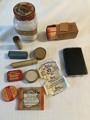 Lot of 12 Antique Pharmaceuticals Quack Medicines Jars Tins