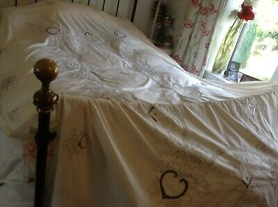 Vintage Very Large  Embroidered Tablecloth Madeira Style