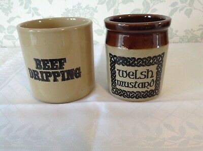 Pearsons of Chesterfield Beef Dripping Pot & Welsh Mustard Pot, Kitchenalia