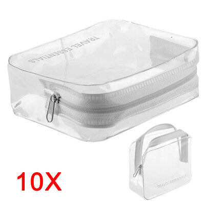 10x HOLIDAY TRAVEL CLEAR Bag Clear Plastic Airline Airport Toiletry Case UK