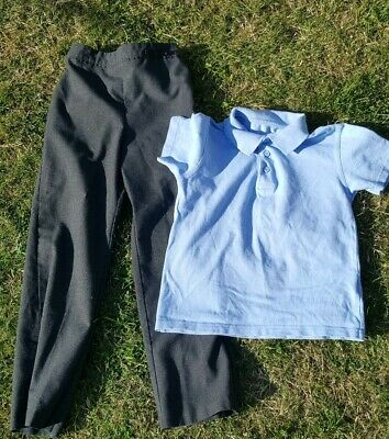 Girls School Trousers Age 7-8 Years Old Grey George plus Blue Polo Shirt Age 7