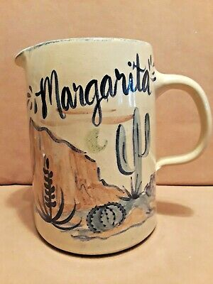 Vintage Mid Century Pottery Margarita Pitcher Hand Painted Signed
