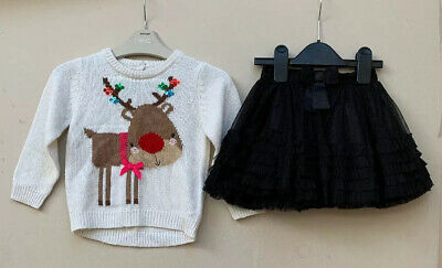 Mothercare Girls Christmas Jumper And Cherokee Netted Skirt Aged 18-24 Months