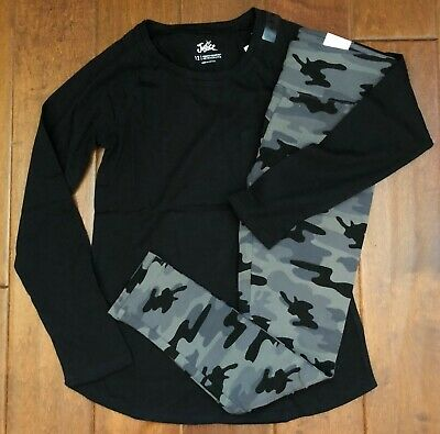 Nwt Justice Girls 8 10 Outfit~Long Sleeve Black Tee / Camo Print Leggings