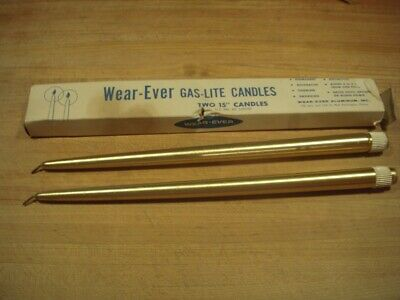2 Vintage 1960's Wear-Ever GasLite Butane Candles : 15-inch Gold
