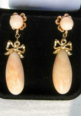 vintage 14K Gold ANGEL SKIN CORAL Drop Earrings RIBBON BOW Victorian Revival WOW