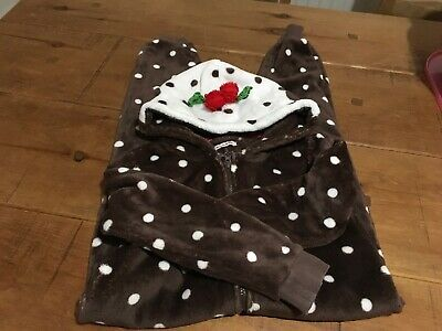 Bluezoo Debenhams Christmas Pudding One Piece Snuggly All In One Sleepsuit 7-8