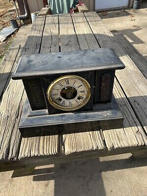 Very Old Antique New Haven Mantle Clock Vintage Cast Iron Steel Housing Case