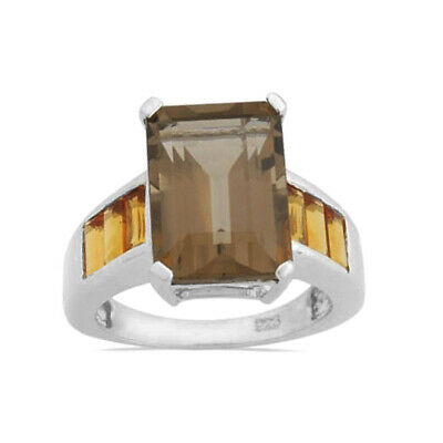 Fine Quality Smoky Quartz & citrine Emerald Cut Sterling Silver Ring size 8.5