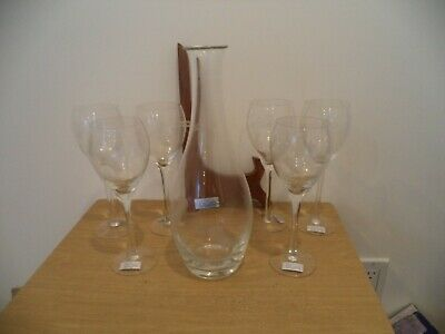 6 Floral Etched Hand Blown Wine Glasses & Decanter Toscany NEW NO STOPPER