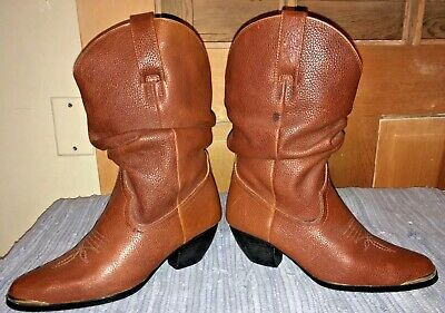 ACME BOOT CO 6M Leather western cowboy boots brown-barely worn/metal toe tips
