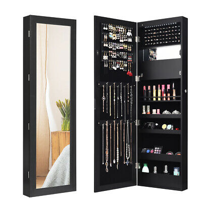 Lockable Mirror Jewelry Cabinet Wall/Door Mounted with LED Lights Gift Black