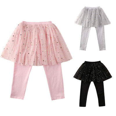 US Stock Sequin Kid Baby Girl Pants Stretchy Bottom Trousers Lace Skirt Leggings