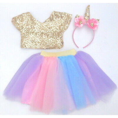 Kids Baby Girl Party Sequin Crop Top T-shirt Skirt Dress Outfit Clothes US Stock