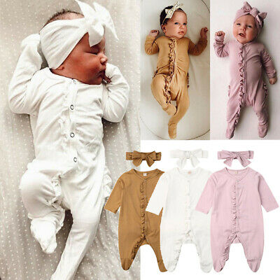 US Infant Baby Girl Boy Ruffle Romper Overall Sleepwear Pajamas Headband Clothes