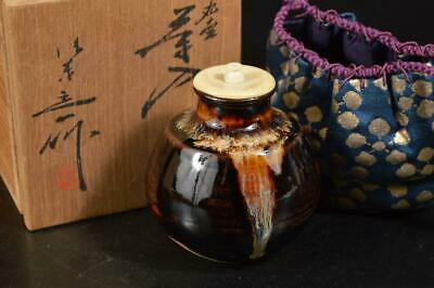 A3578: Japanese Kiyomizu-ware TEA CADDY High class lid, Oketani Teiichi made