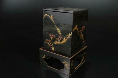 A3568: Japan Wooden Landscape gold lacquer pattern FOOD BOXES Jubako Lunch Box