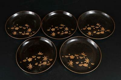 A3529: Japanese Wooden Lacquer ware SERVING PLATE/dish 5pcs Tea Ceremony