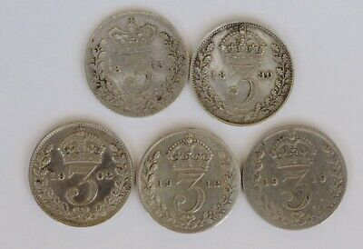 Great Britain 3 Pence Silver Coins X 5 1863 - 1919