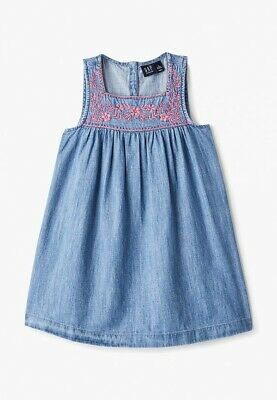 NWT Gap Kids Girls Floral Embroidered Chambray Denim Dress S Small 6 7
