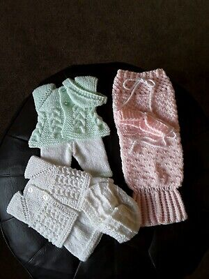 Hand Knitted Dolls Clothes 3 Sets American Girl/Design A Friend Etc