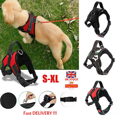 Non-Pull Dog Harness Adjustable Pet Puppy Walking Strap Vest Soft Chest Belt UK