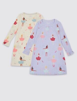 BNWT Girls M&S 2 Pack Ballerina Nightdress Age 2-3 Years