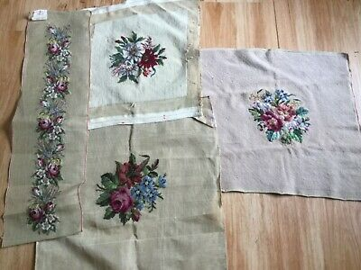 4  Completed floral tapestries