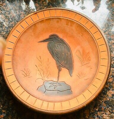 Large Terracotta Dish With Heron In Centre