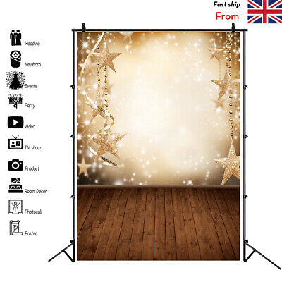 New 5X7FT Christmas Star Backdrop Abstract Balls Snow Plank Theme Background UK