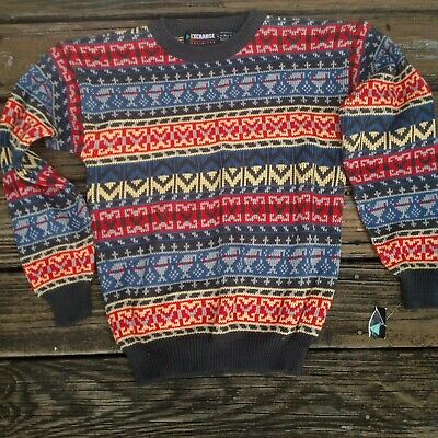 Vtg Exchange Unlimited Fair Isle Womens Sweater XL Crew Red Blue Gray 80s 90s