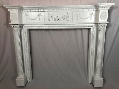 1 Architectural Reclaimed Georgian Robert Adam's Style Wood Fireplace Surround