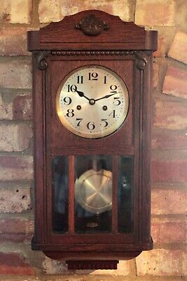 Antique German 'HAC' 8-Day Oak Case Striking Wall Clock, early 20th Century