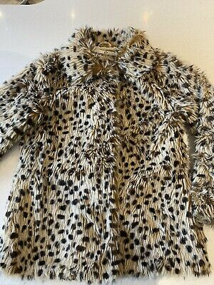 M&S Girls Leopard Print Fake Fur Coat. Age 11-12. Ex Con