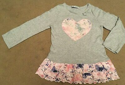"""Girls Grey & Pink Heart Top by """"George"""" - Age 4-5 Years - VGC!!!"""