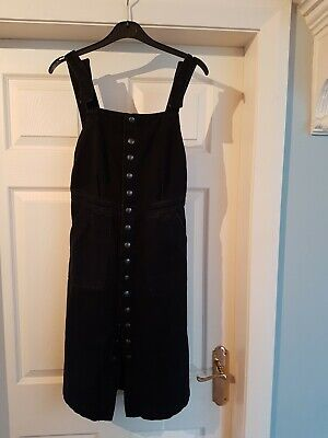 MiH Jeans Ladies Black Denim Button Up Pinafore Dungaree Dress Skirt Size XS