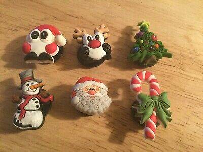 6 Authentic Crocs Jibbitz Shoe Charms Christmas Tree Snowman Reindeer Present