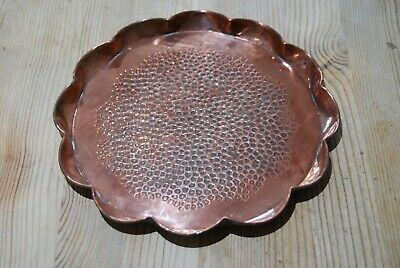 Copper tray, pie crust rim with hammered dimpled surface