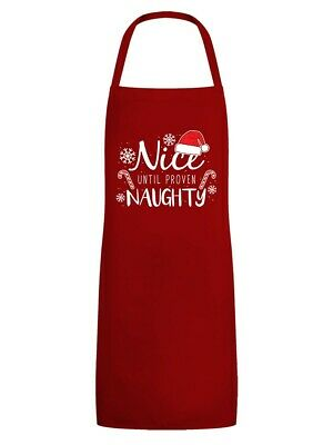 Christmas Apron Nice Until Proven Naughty Red